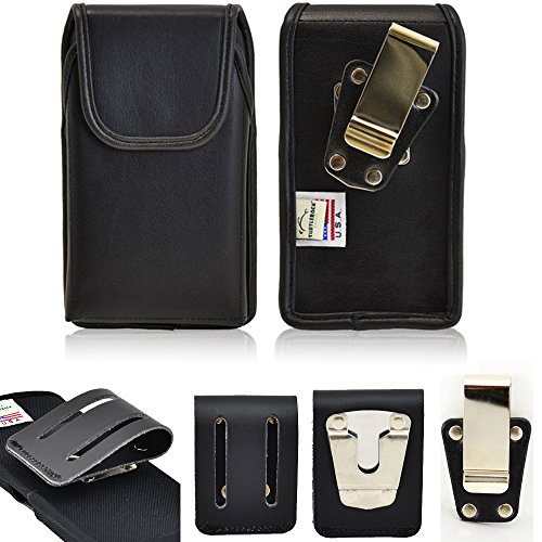 Genuine Leather Rugged Heavy Duty Duty Vertical Case with Magnetic Closure fits iPhone 8 PLUS with a Otterbox on it. Comes with 2 sizes of belt clips.