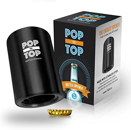 PoptheTop Automatic Beer Bottle Opener : (Black) - Great gift - Bottle cap collector best find! Push down & cap pops off. No bending or damage to caps. by TaZa