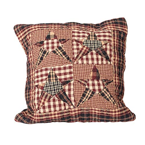 The Country House Collection Star Patchwork Red, Blue and Tan Quilted 16 x 16 All Cotton Decorative Throw Pillow