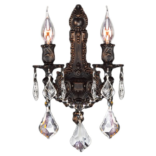 Worldwide Lighting Versailles Collection 2 Light Flemish Brass Finish Crystal Wall Sconce 12
