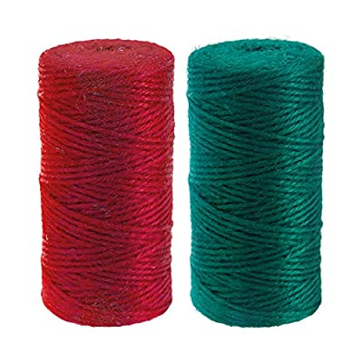 Natural Jute Twine 2mm Red Gift Twine Green String Christmas Gift Twine 656 Feet Arts Crafts Jute Rope for Gift Wrap DIY Decoration : Office Products