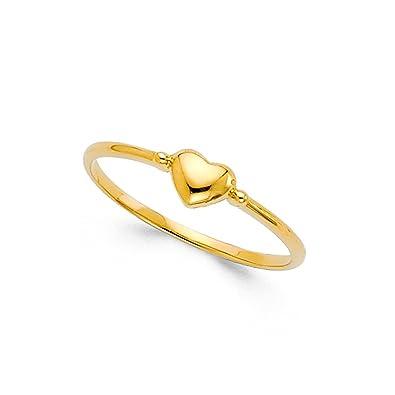 aca526fd57bd5 Amazon.com: 14k Yellow Gold Bubble Heart Ring Love Band Stylish ...