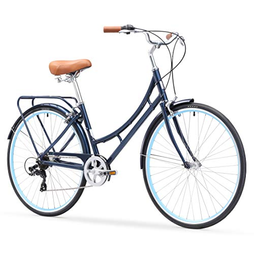 sixthreezero Ride In The Park Women's 7-Speed Touring City Bike, 700x32c Wheels, Navy Blue, 17/One Size