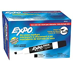 SAN80001 - Expo Dry Erase Chisel Point Markers 12 TOTAL
