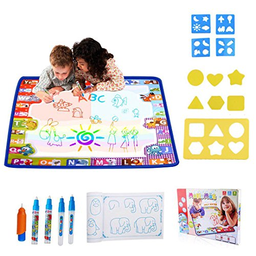 HUALEDI [Large size] aqua doodle mats,Aqua Magic Mat, Water drawing doodle mat toddler,doodle mats in 6 Colors [More tool] 4 Magic Pens 1 Brush[30X30 In] gift/toys 1/2/3/4 year old ()