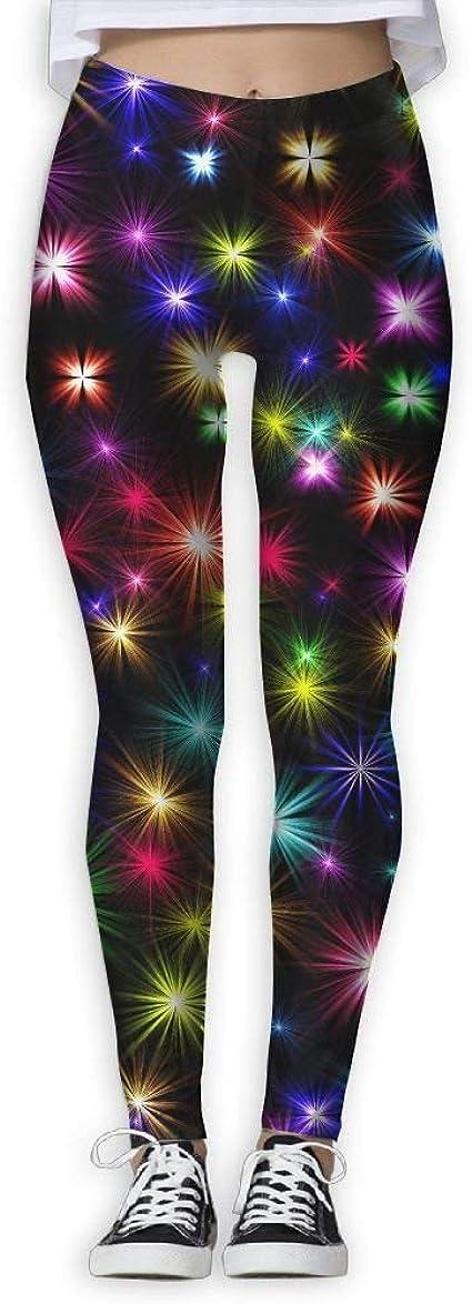 Fireworks-Compression FitYogaStretchyRunning PantsAthleticwearWorkoutColorfulBlack Leggings