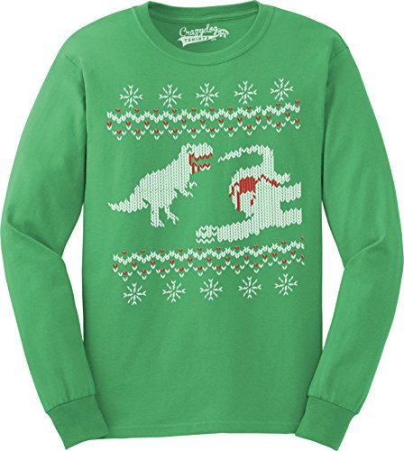 Crazy Dog T-Shirts Dinosaur Snack Funny Ugly Christmas Sweater Long Sleeve Shirt (Green) L