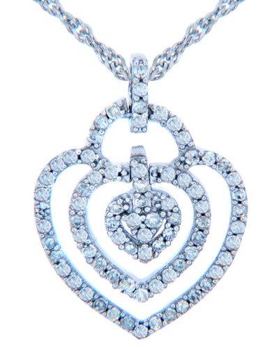 10 ct 471/1000 Or Valentines SonLa Coeur Diamants - 10 ct 471/1000 Or Blanc Triple Coeur-Pendentif Avec Diamants