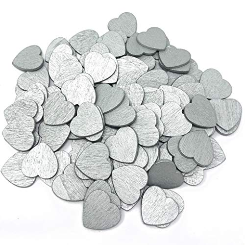 Wedding Touches Silver 18mm Coloured Wooden Shabby Chic Craft Scrapbook Vintage Confetti Hearts (50)