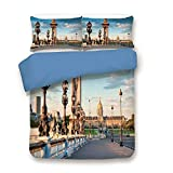 iPrint Duvet Cover Set,Blue Back,Paris Decor,Pont Alexandre III Bridge 1896 Spanning The River Seine Ornate Art Nouveau Lamps,Decorative 3 Pcs Bedding Set by 2 Pillow Shams,Queen Size