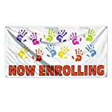 Now Enrolling #1 Outdoor Advertising Printing Vinyl Banner Sign With Grommets - 2ftx3ft, 4 Grommets
