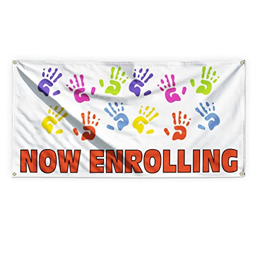 Now Enrolling #1 Outdoor Advertising Printing Vinyl Banner Sign With Grommets - 2ftx3ft, 4 Grommets -