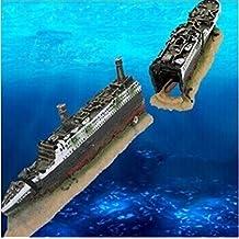 Fish Tank Aquarium Decoration Mini Titantic Wooden Boat Aquarium Accessories Ornament Pirate Ship Resin Big Size 38.5*6*9cm