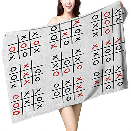 Nassau Game Table - Perfectble Beach Towel Xo Doodle Style Tic Tac Toe Game Set Table with X and O Letters Artistic Design W12 xL35 Suitable for bathrooms, Beaches, Parties