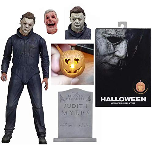 PLAYER-C Halloween Ultimate Michael Myers Pumpkin with Led Light PVC Action Figure Toy Doll Gift -