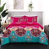 Mandala Duvet Cover Set Soft Microfiber Bedding Set Bohemia Exotic Patterns Design 3 Pieces Qulit Cover SetW Zipper Closure with Pillow Cases King Size