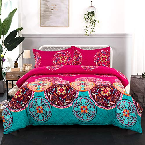 Bohemian Duvet Cover Queen 3 Pieces Lightweight Microfiber Mandala Bedding Duvet Cover with Zipper Closure for Girls, Boho Chic Pattern 90x90 Inches