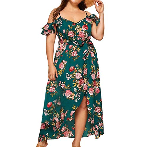 TANGSen Fashion Women Off Shoulder O-Neck Dress Vintage Plus Size Lace Up Dress Maxi Flowing Floral Print Loose Dress