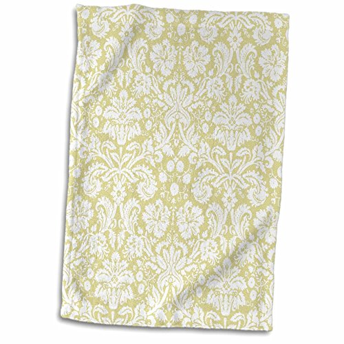 3D Rose Gold and White Damask Pattern - Cream Beige - Fancy French Floral Swirls - Stylish Classic Elegant Towel 15