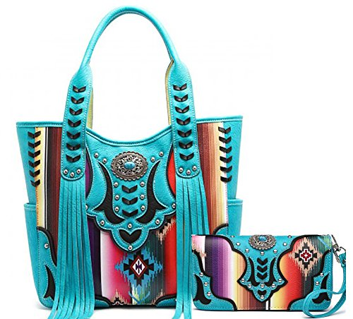 - Cowgirl Trendy Multi-Striped Serape Fringe Concealed Carry Tote Handbag and Wallet (Turquoise)