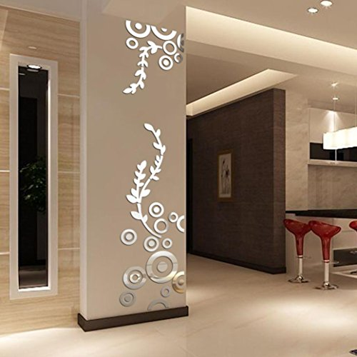 Neartime Hot Sale Creative Circle Ring Acrylic Mirror Wall Stickers 3D Home Room Decor Decals (Silver) ()