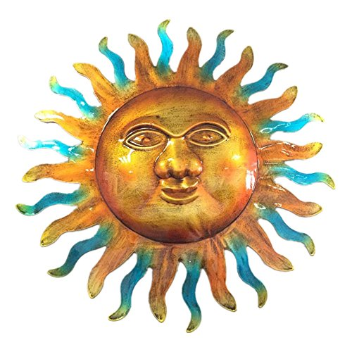 WANDERBAL HOME Indoor or Outdoor Decoration Artistic Metal Sun Wall Art - Hanging Sun Face