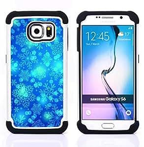 """Samsung Galaxy S6 / SM-G920 - 3 en 1 impreso colorido de Altas Prestaciones PC Funda chaqueta Negro cubierta gel silicona suave (Invierno del copo de nieve Blue Sky Chrismas"""")"""