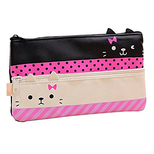 Funny live Contracted Cat Pencil Case, Pen Bag, Creative Learning Products, Large, White ()