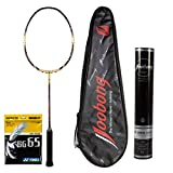 Joobong TP-705Carbon Badminton Racket+Joobong Badminton Shuttlecock+YONEX BG-65 String_White