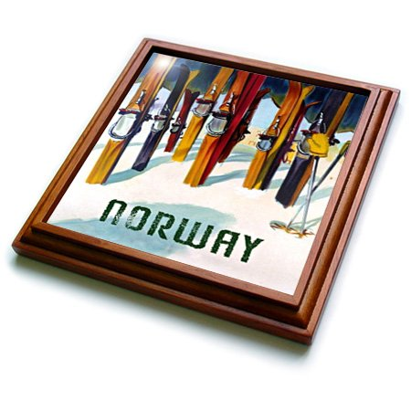 3dRose trv_163648_1 Image of Skis with Word Norway Trivet with Ceramic Tile, 8 by 8'', Brown