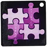 3dRose Four Puzzle Pieces In Purple With The Words Hard Work, Patience, Courage, and Success - Key Chains, 2.25 x 4.5 inches, set of 2 (kc_159126_1)
