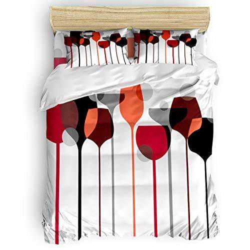 Pink Sky Full Duvet Cover Set Comfortable Bedding Sets,Include 1 Duvet Cover 1 Flat Sheet and 2 Pillow Cases,Modern Art Design Goblet Red Wine Glass Pattern Bed Sheet Set ()