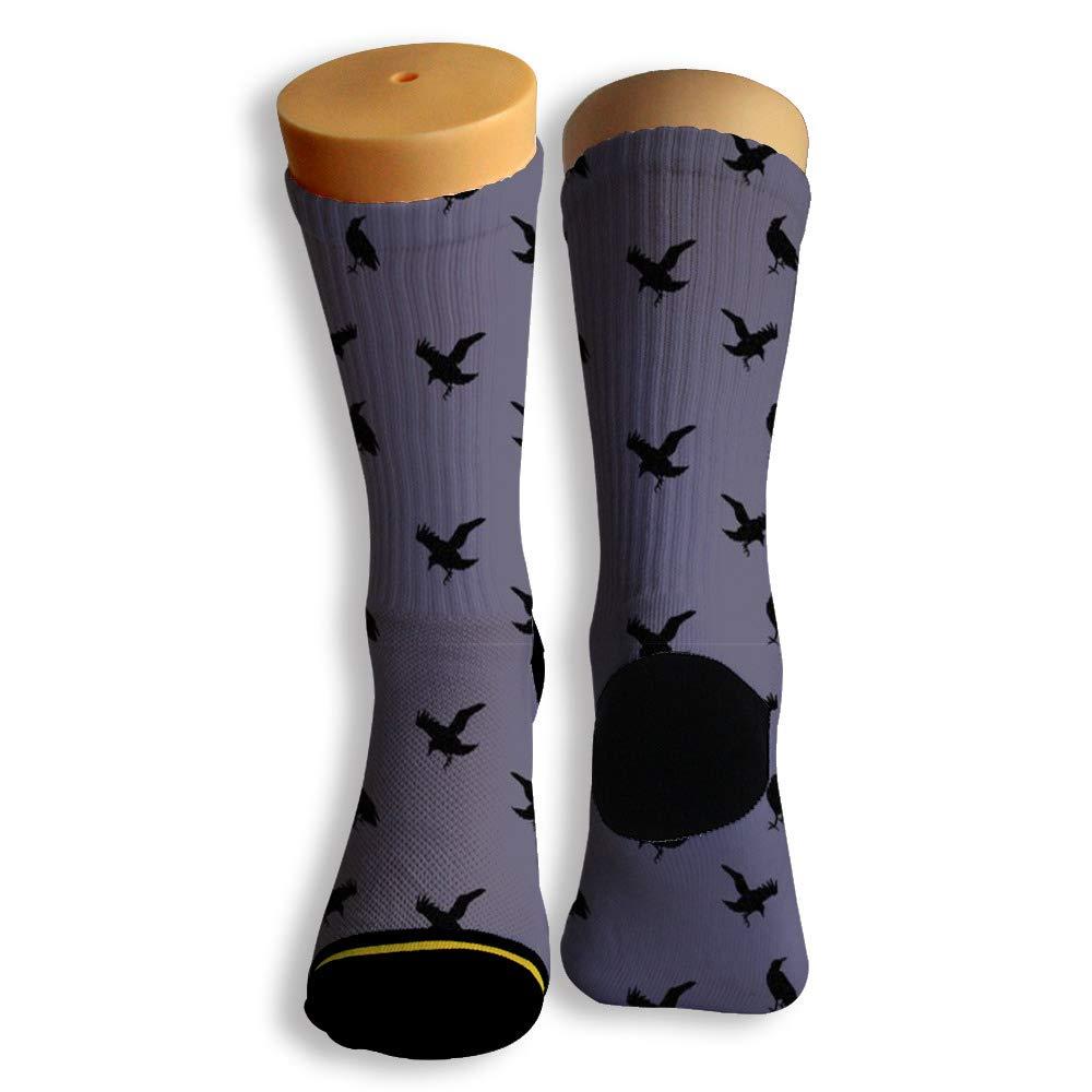 Basketball Soccer Baseball Socks by Potooy Crow Pattern 3D Print Cushion Athletic Crew Socks for Men Women