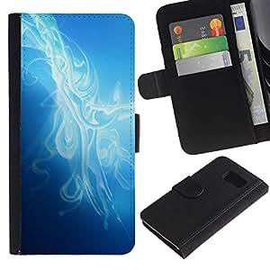 Billetera de Cuero Caso Titular de la tarjeta Carcasa Funda para Samsung Galaxy S6 SM-G920 / Mist Smoke Blue Light Clean Bright / STRONG