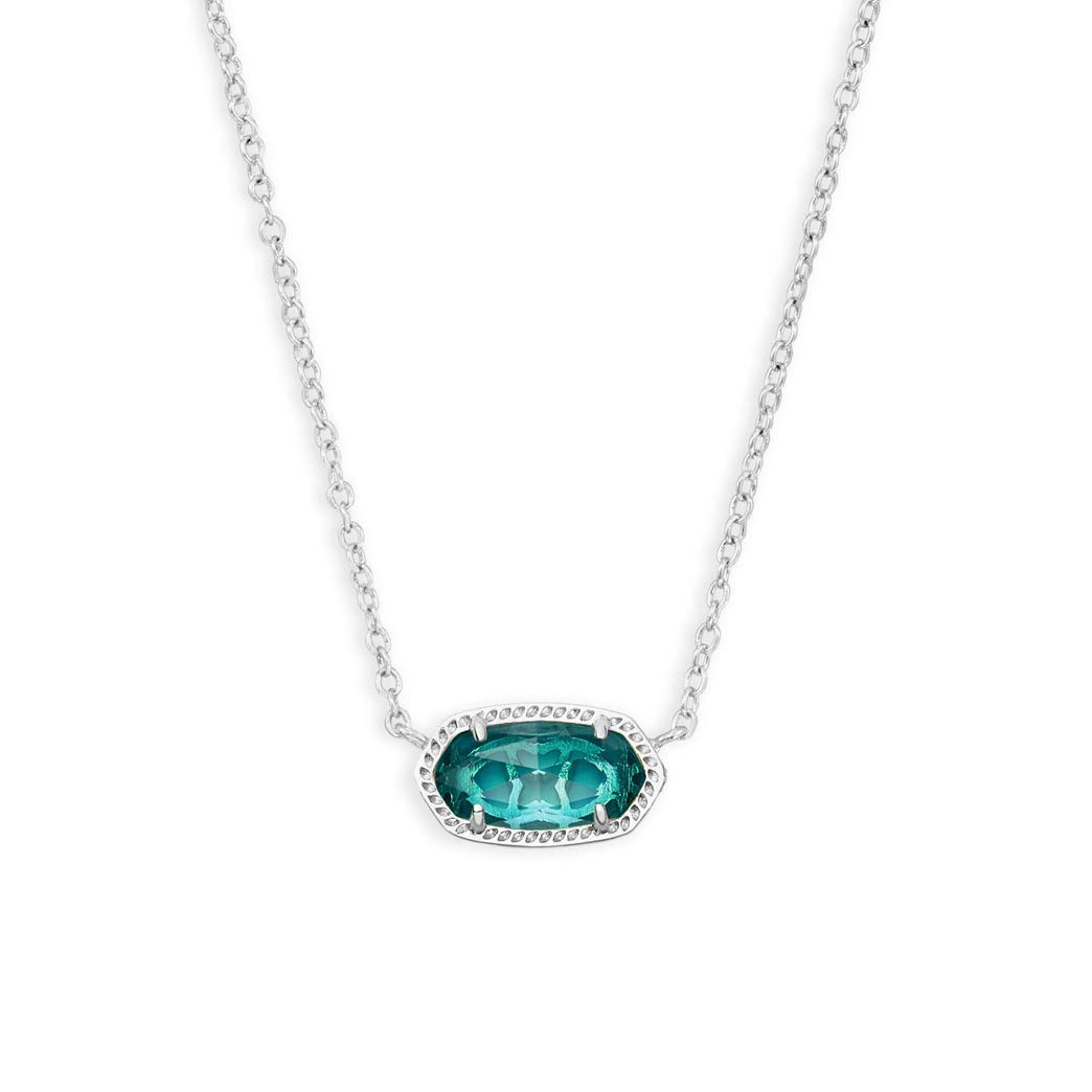 Kendra Scott Elisa Pendant Necklace in London Blue Glass and Rhodium Plated by Kendra Scott