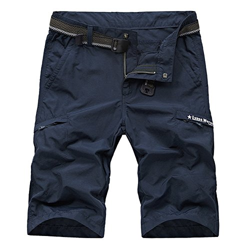 Kolongvangie Men's Outdoor Summer Super Lightweight Quick Dry Belted Cargo Shorts with Multi Pockets