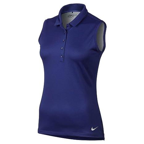 f19536e8 NIKE Precision Texture 1 Sleeveless Golf Polo 2017 Women Deep  Night/Metallic Silver X-