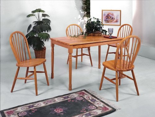 Brand New 5-pc Farm House Dining Table and 4 Dining Side Chair Set- Oak Finish (Dining Room Leather Cabinet)