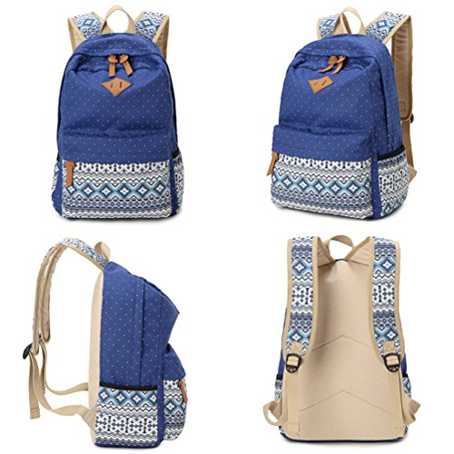 Hitop Lienzo Chicas Mochilas Adolescentes Bolsa Lunares Profundo Geometría Mochila Para Fashion Jóvenes Cute Ligero Azul Casual StqFtwr