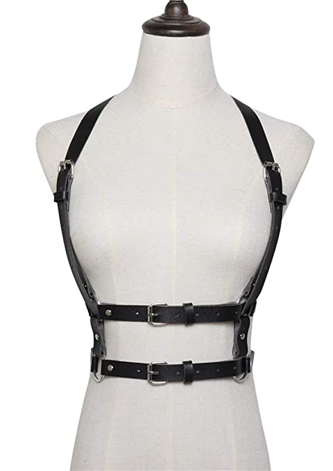 Ababalaya Fashion PU Leather Adjustable Body Chest Harness Fancy Belt for  Mens Womens,Black