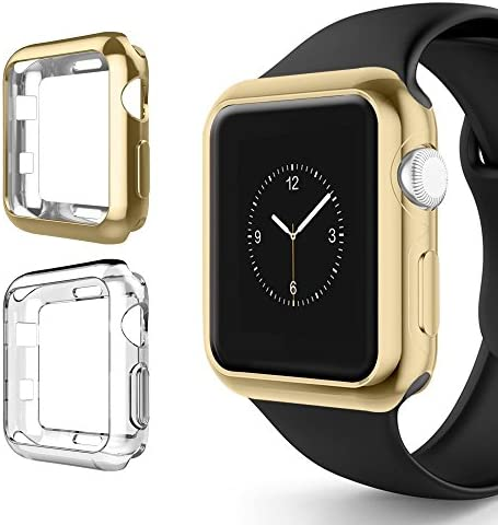 Chrome + Clear Vivid Protection Case [2 Pack] by Tech Express for Apple Watch Series 1, 2 & 3 Cellular LTE/GPS Flexible Bumper Skin [iWatch Gel Cover] Protective Shockproof (Gold/Clear, 42mm)