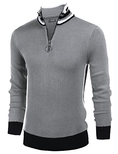 COOFANDY Men's Casual Quarter Zip Pullover Sweater Slim Fit Long Sleeve Polo Sweaters,Light Gray,Small