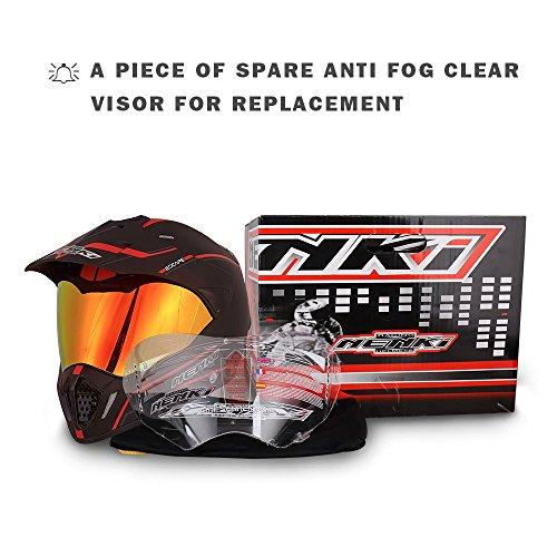NENKI Dual Sport Helmet Full Face Motocross & Motorcycle Helmets Dot Approved Iridium Red Visor Attached Clear Visor NK-310 (XL, Matt Black & Red) by NENKI (Image #8)