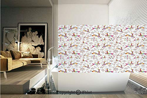 (Decorative Privacy Window Film/Christmas Themed Rainbow Snowflakes and Animals Pattern Geometric Polygonal Design/No-Glue Self Static Cling for Home Bedroom Bathroom Kitchen Office Decor Multicolor)