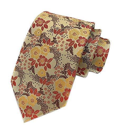 (Secdtie Men's Yellow Orange Brown Ties Floral Woven Silk Classic Formal Necktie)