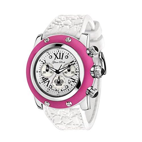 Glam Rock de las mujeres verano tiempo 46 mm banda de silicona reloj cuarzo suizo GR30108FW