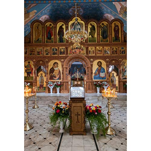 (AOFOTO 6x8ft Christianism Church Interior Decorated Christian Pictures of Gods Cross Crucifix Candlesticks Candles Bouquet Floor Tile Christian Gathering Party Events Easter Portraits Photo Booth Prop)