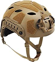 BJ Type II Fast Tactical Helmet, with Aluminum Alloy NVG Mount, Adjustable Neck Airsoft Military Helmet, for O