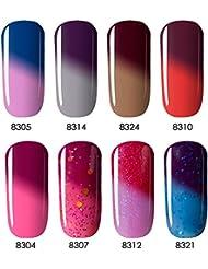 Color Changing Temperature Gel Nail Polish, UV LED Soak Off Varnish Set, 8 Tiny Bottles in Gift Box, 0.24 OZ, Modelones