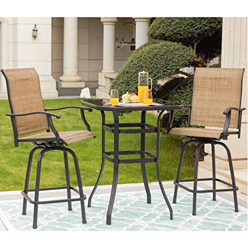 LOKATSE HOME 3 Piece High Swivel Stools 2 Tall Chairs and Height Outdoor Bistro Table, 3PCS, Patio bar Set